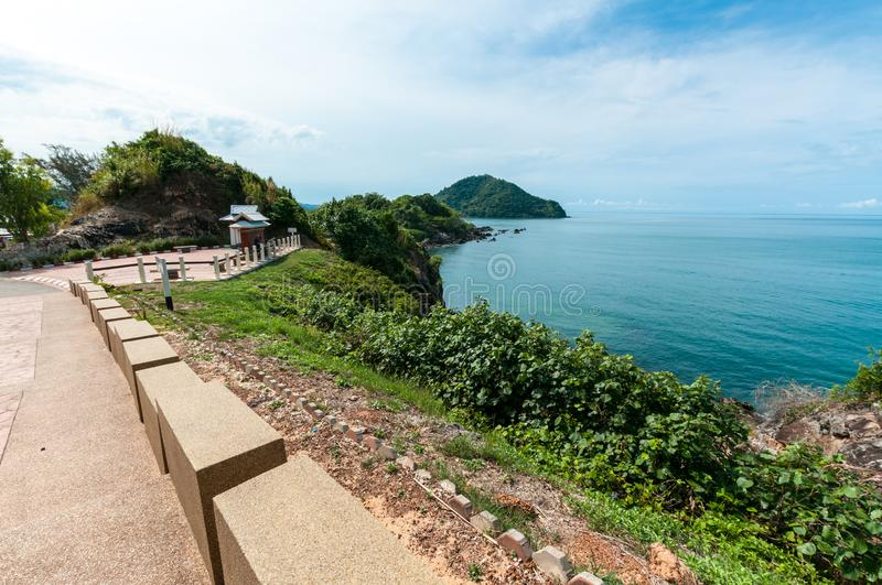 Ocean with Nang Phaya hill scenic point. Landscape of ocean with Nang Phaya hill scenic point royalty free stock images