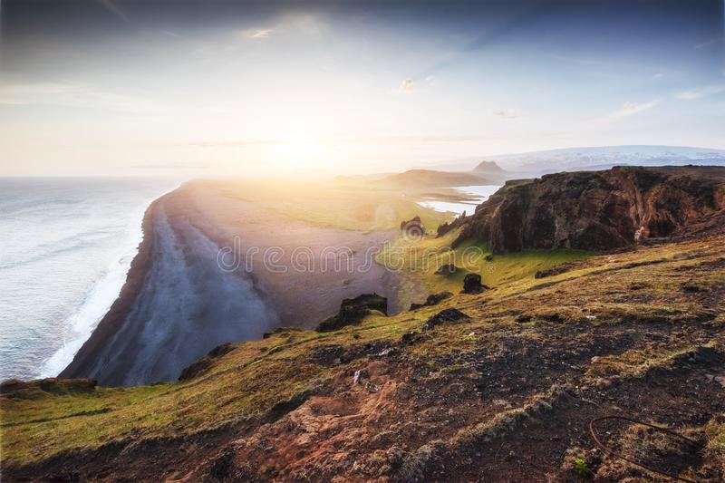 Landscape with ocean and Reynisfjall mount. Iceland. Landscape with ocean and Reynisfjall mount Iceland royalty free stock photo