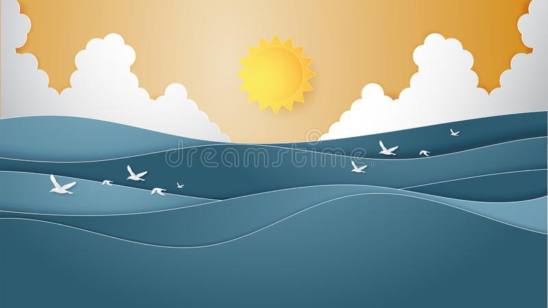 Landscape of Ocean water wave with sun, cloudscape and flying seagulls paper cut style vector illustration