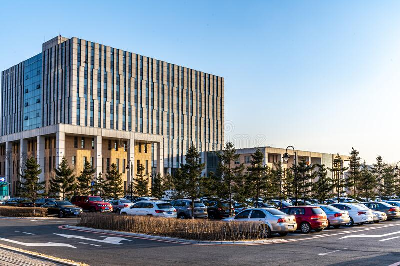 Landscape of office building in Changchun Automobile Economic and Technological Development Zone. China stock image