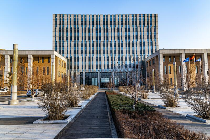 Landscape of office building in Changchun Automobile Economic and Technological Development Zone. China royalty free stock image