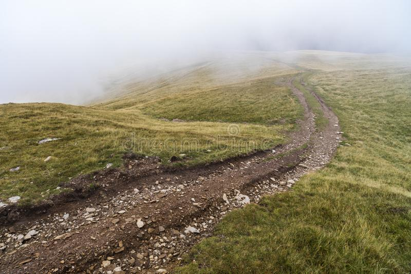 Landscape with offroad on the mountain. Somewhere in Romania stock photography