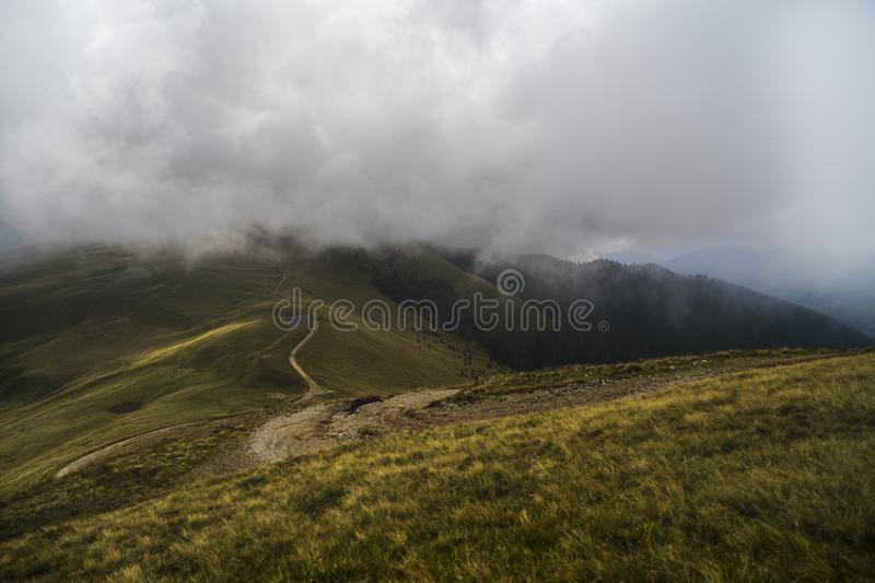 Landscape with offroad on the mountain. Somewhere in Romania stock images