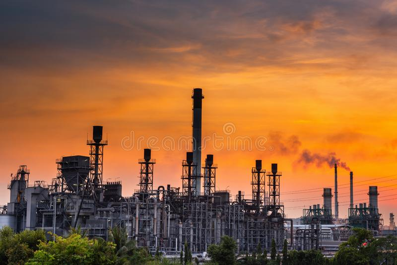 Landscape of Oil and Gas Refinery Manufacturing Plant., Petrochemical or Chemical Distillation Process Buildings., Factory of royalty free stock image