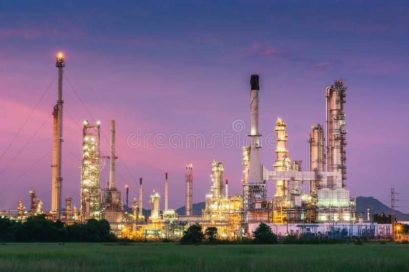 Landscape of Oil and Gas Refinery Manufacturing Plant., Petrochemical or Chemical Distillation Process Buildings., Factory of. Power and Energy Industrial at royalty free stock images