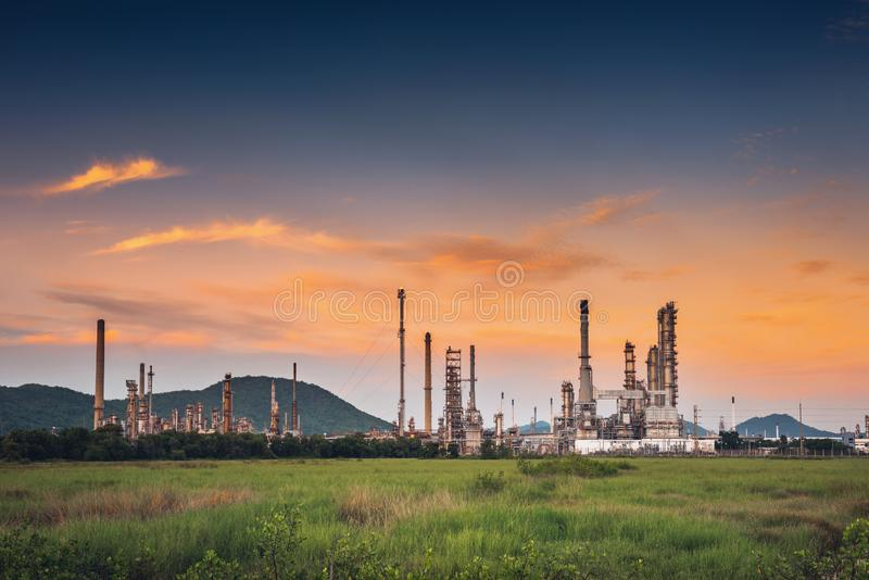 Landscape of Oil and Gas Refinery Manufacturing Plant., Petrochemical or Chemical Distillation Process Buildings., Factory of. Power and Energy Industrial at royalty free stock photography