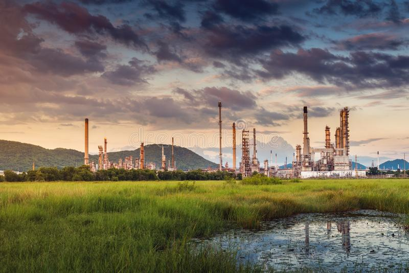 Landscape of Oil and Gas Refinery Manufacturing Plant., Petrochemical or Chemical Distillation Process Buildings., Factory of stock photo