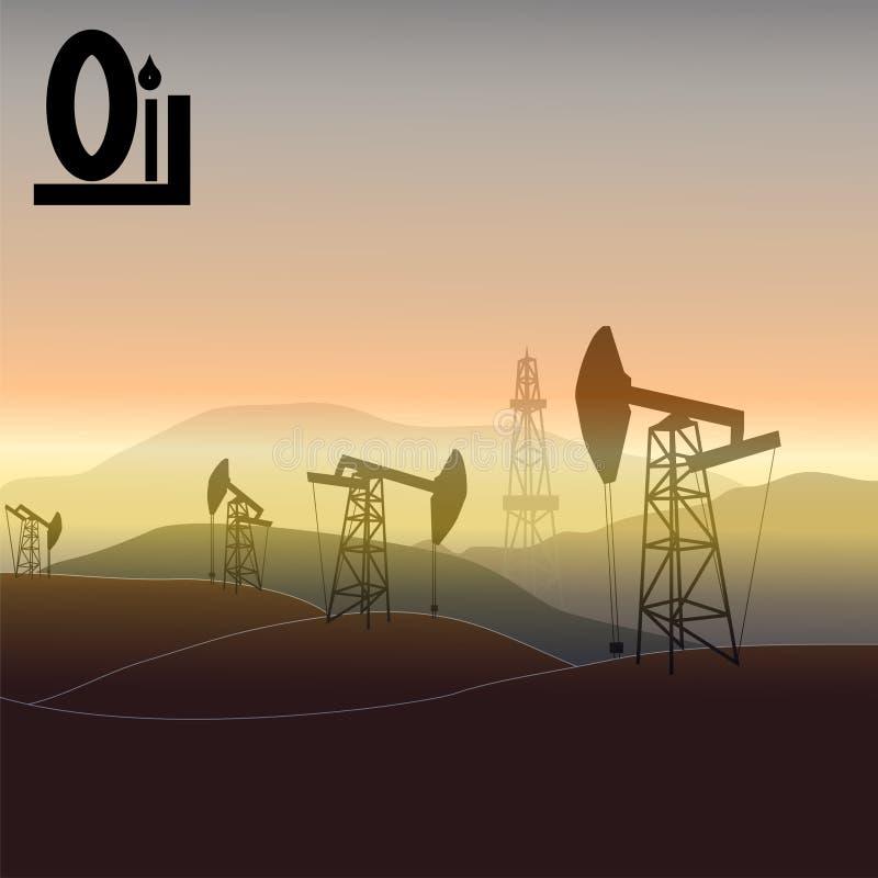 Landscape oil production royalty free illustration