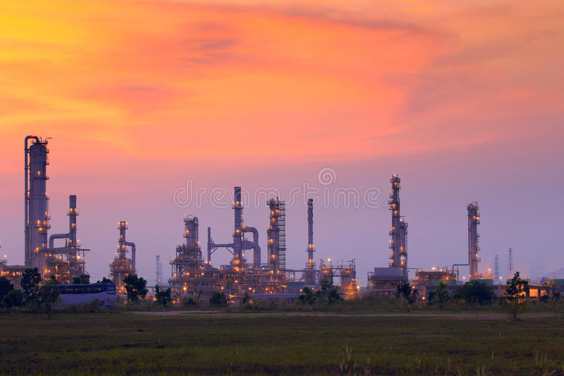 Landscape oil refinery. With beautiful sky at sunset stock images