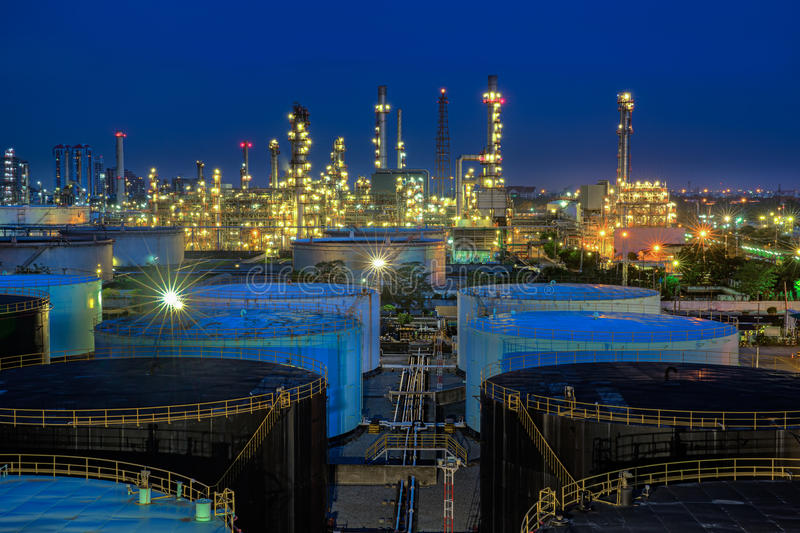 Landscape of oil refinery industry. With oil storage tank stock photo