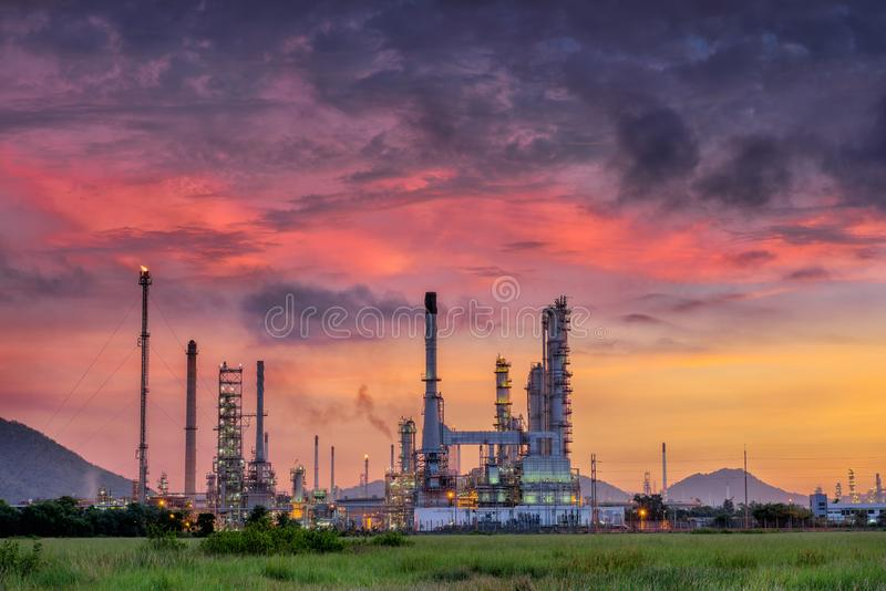 Landscape of Oil Refinery Plant and Manufacturing Petrochemical Process Building, Industry of Power Energy and Chemical Petroleum. Product Factory. Natural Oil/ royalty free stock photography