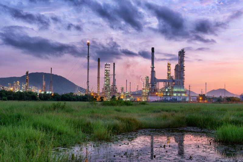 Landscape of Oil Refinery Plant and Manufacturing Petrochemical Process Building, Industry of Power Energy and Chemical Petroleum stock photography