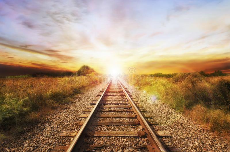 Landscape of an old abandoned railway at the sunrise. stock photo