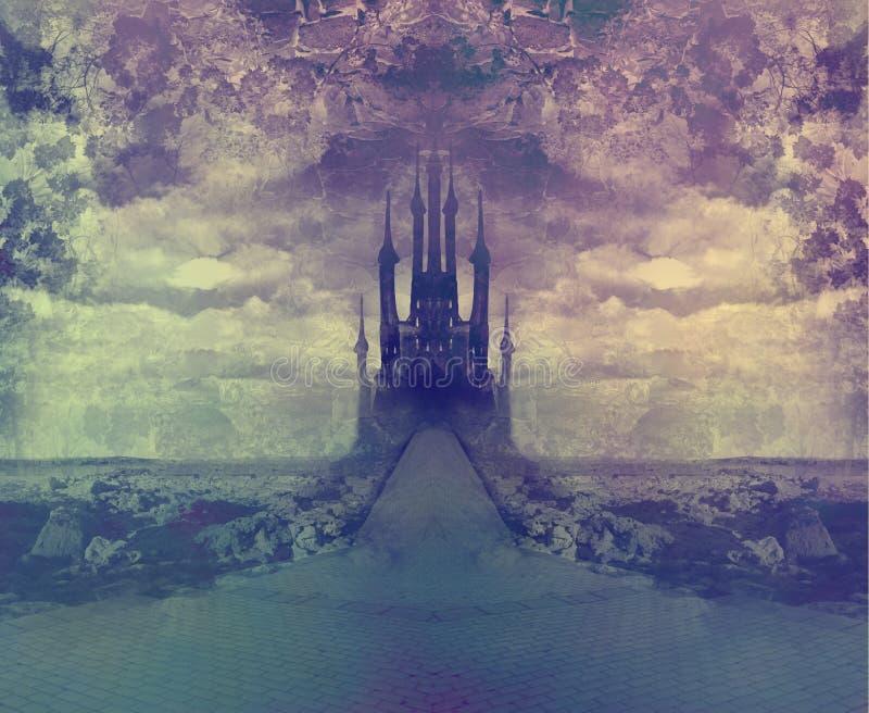 Download Landscape With Old Castle At Night Stock Illustration - Illustration: 34427329