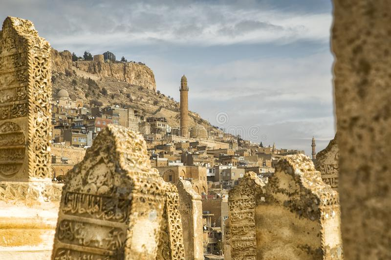 Landscape of a old city in Mardin. Landscape of a old city in the middle east . Mardin is a historical city in Southeastern Anatolia, Turkey royalty free stock photo