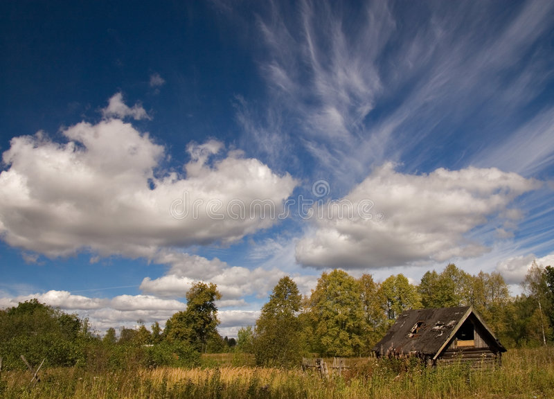 Landscape with old house stock image