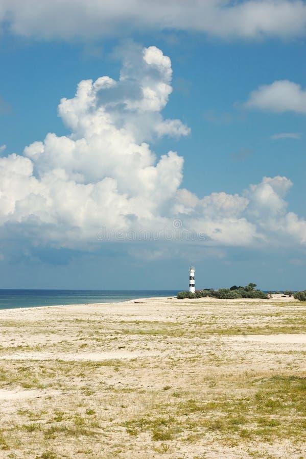 Landscape with old lighthouse,island,Ukraine stock photos