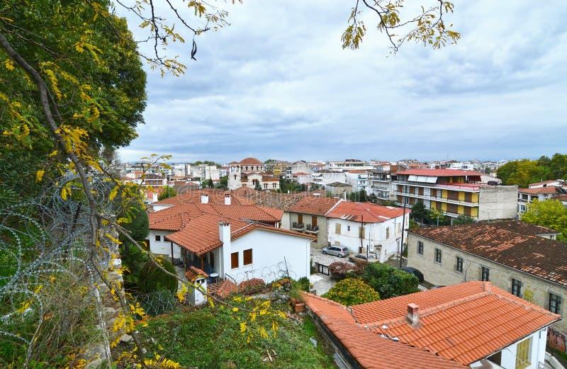 Landscape of the old town Varousi Trikala Greece stock image