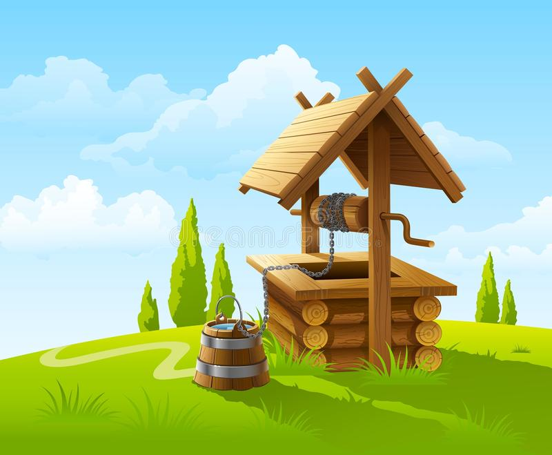 Landscape with old wooden well and bucket of water royalty free illustration