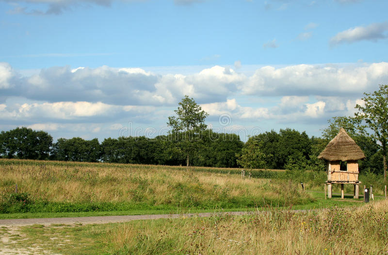 Landscape of the Open air museum in Drenthe, Netherlands. Borger is known by the largest dolmen of Netherlands stock photo