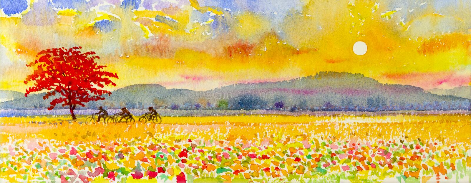 Landscape original painting family fitness by ride bicycle and sunset. Watercolor landscape original painting family fitness by ride bicycle and sunset in royalty free illustration