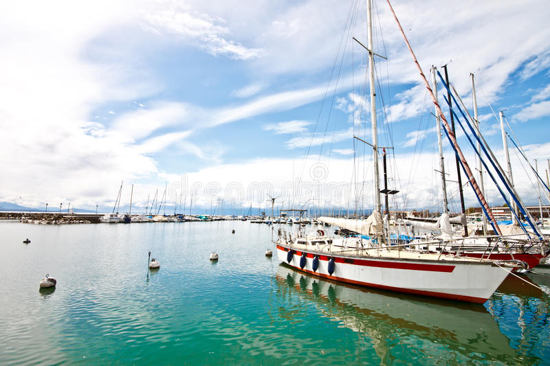 Landscape of Ouchy port, Lausanne, Switzerland 1 stock photography