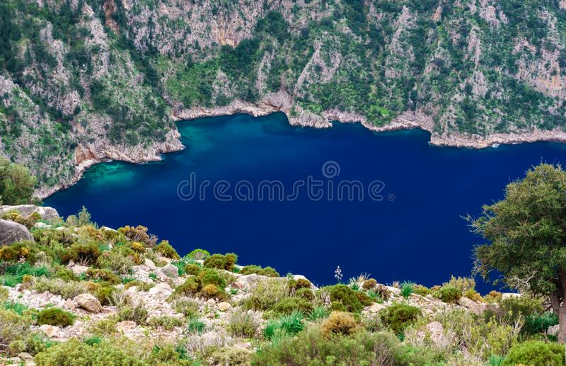 Landscape over Butterfly Valley in Turkey. Lycian way. Summer, sea and holiday concept. Landscape over Butterfly Valley in Turkey.  Lycian way. Summer, sea and royalty free stock photo