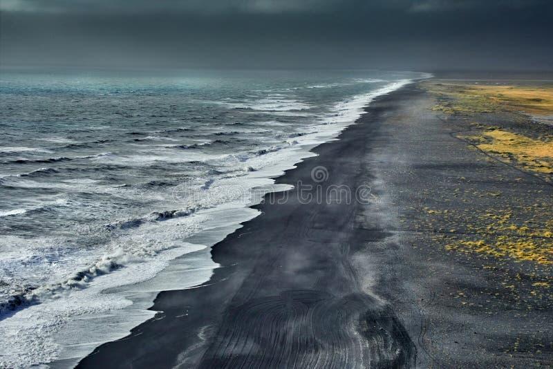 Reynisfjara Black Sand Beach, autumn 2018, Iceland royalty free stock image