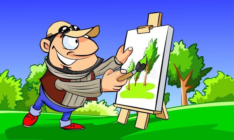 Landscape painter vector illustration
