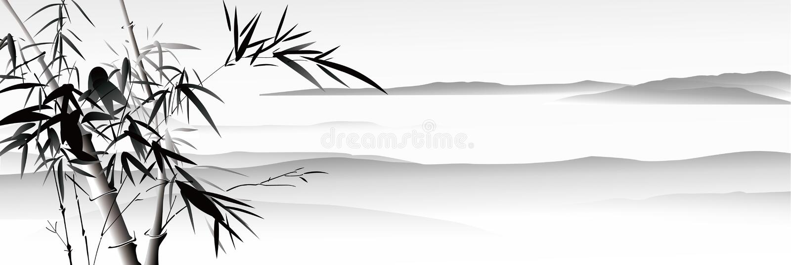 Landscape painting. Chinese ink style vector illustration