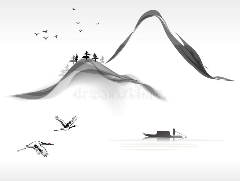 Landscape painting. Chinese ink style stock illustration