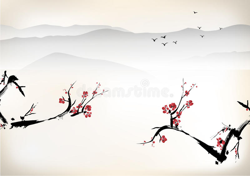 Landscape painting. Chinese ink style royalty free illustration