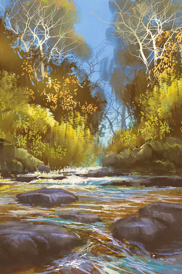 Landscape painting of creek in forest royalty free illustration