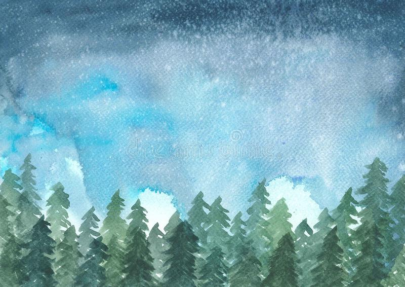 Landscape painting of pine trees in winter while snow. Ing at night, watercolor illustration royalty free illustration