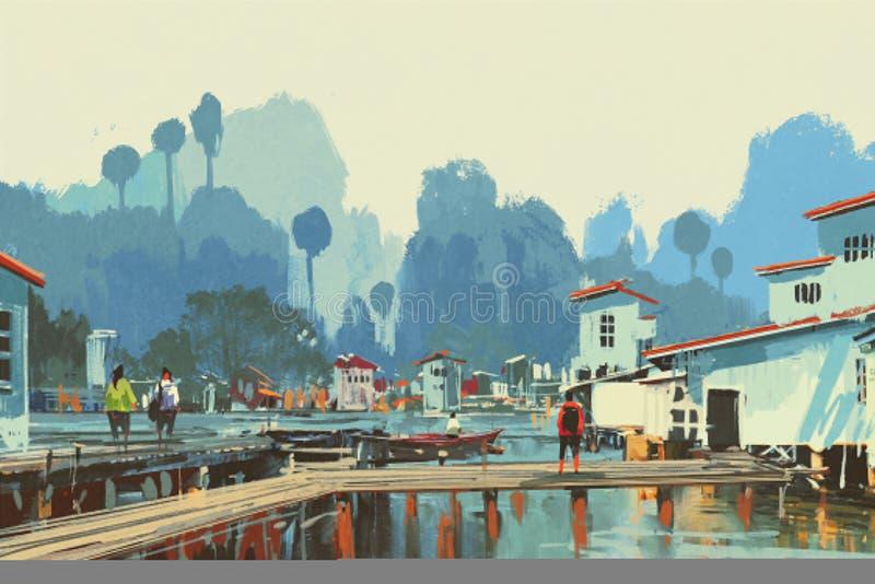 Landscape painting of river village stock illustration