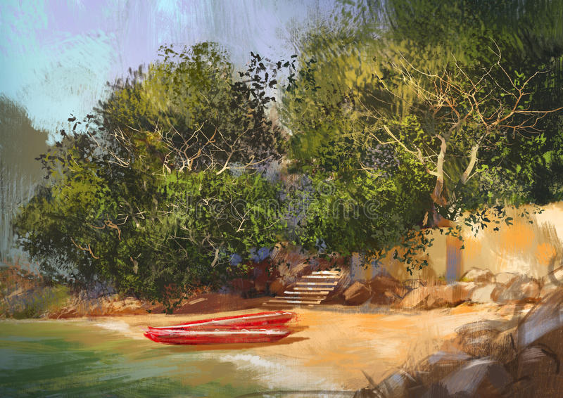 Landscape painting of tropical beach royalty free illustration