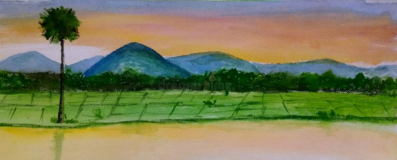 Landscape painting royalty free illustration