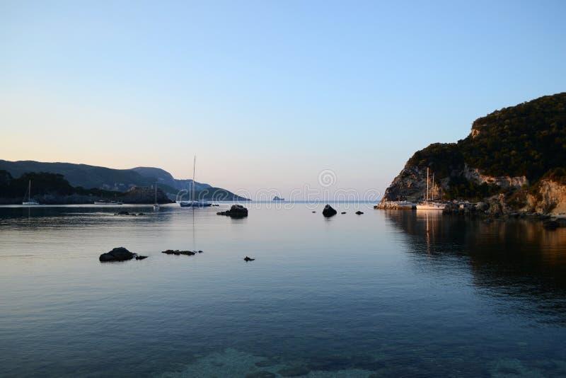 Landscape with Paleokastritsa Harbor stock photography