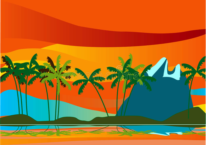 Landscape _Palm and Mountane royalty free stock images