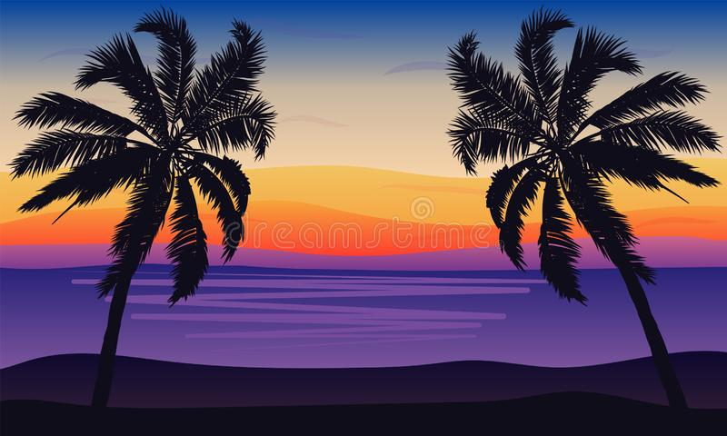 Landscape of palm trees against the sea in a blue-pink tone vector illustration