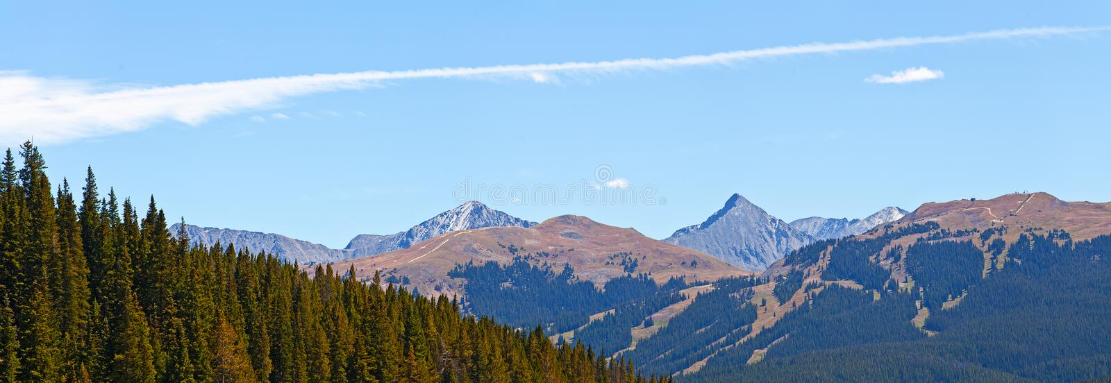 Landscape panorama of beautiful mountain and pine forest nature stock photography
