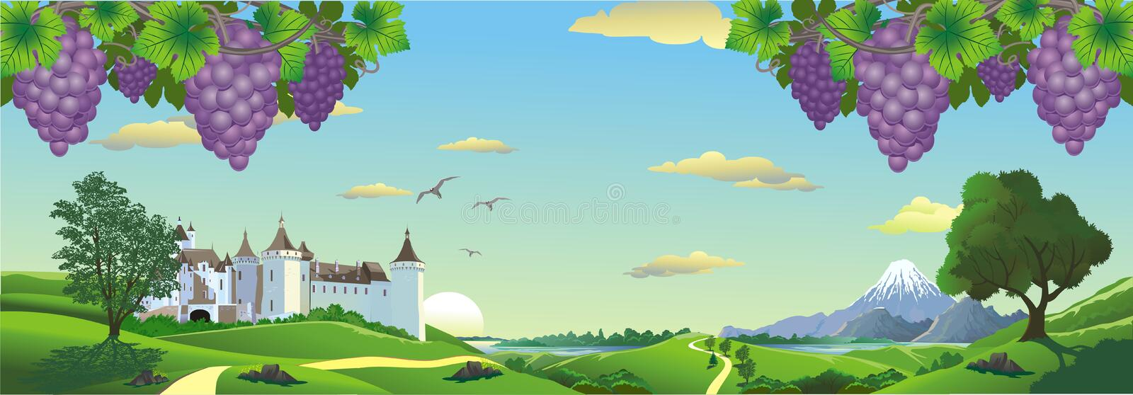 Landscape panorama with bunches of grapes and an ancient castle on the hill. royalty free illustration