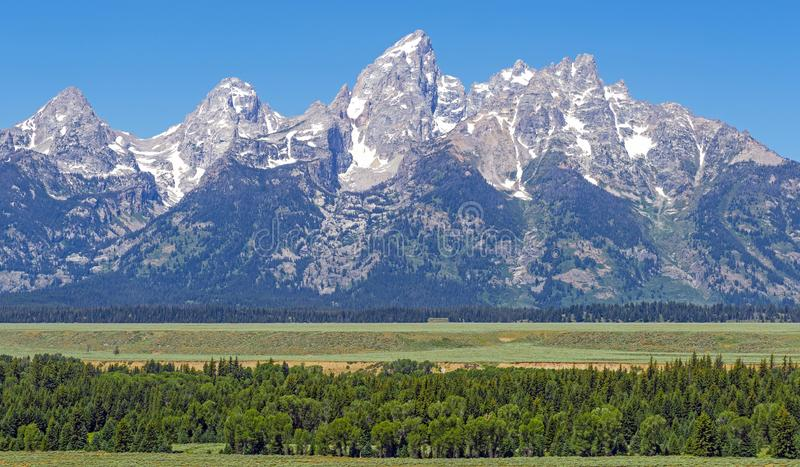Grand Teton Peaks Panorama, Wyoming, USA stock images