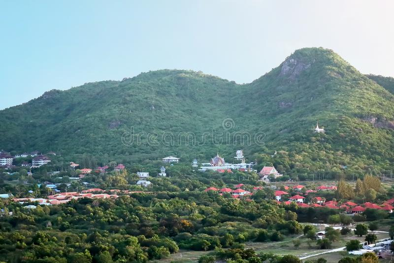 Landscape panorama view of Thai village in the valley. Landscape panorama view of thai village in the valley with beautiful Thai temple in suburb area of royalty free stock images