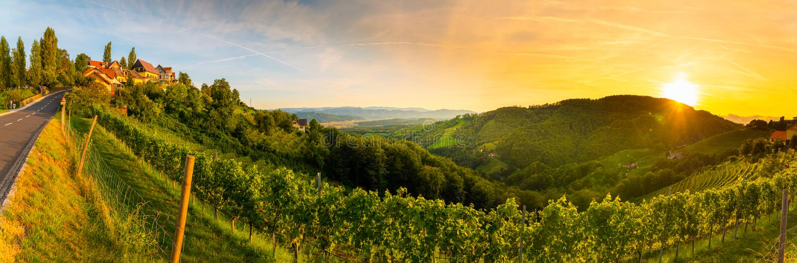 Landscape panorama of vineyard on an Austrian countryside with a church in the background in Kitzeck im Sausal. Tourist destination royalty free stock photos