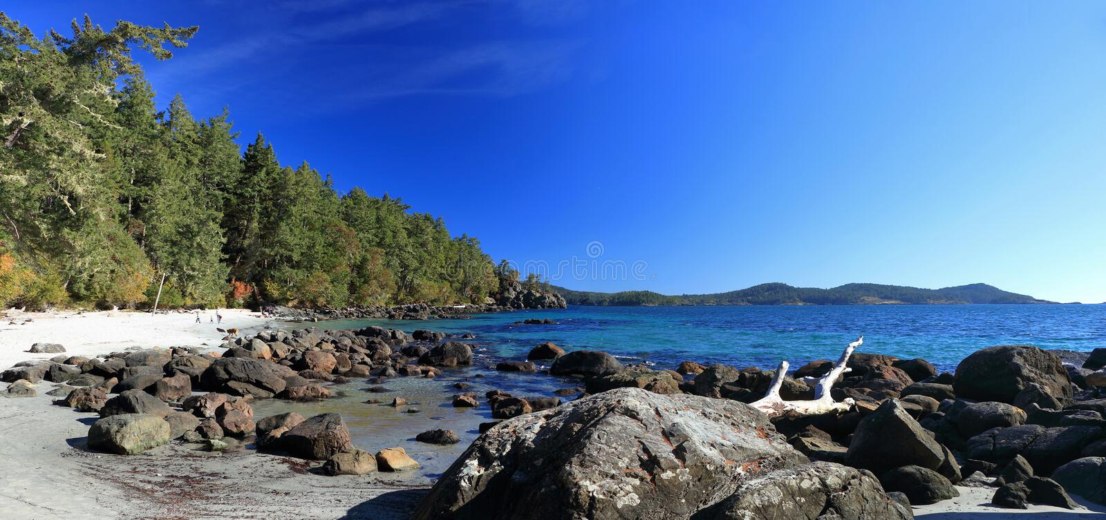 East Sooke Park, Vancouver Island, British Columbia, Canada - Landscape Panorama of White Sand Beach at Beecher Bay. Landscape panorama of clear water, rocks and stock photo