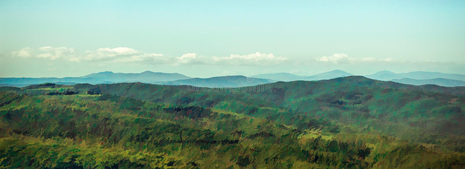 Landscape panoramic view of a Tuscan valley royalty free illustration