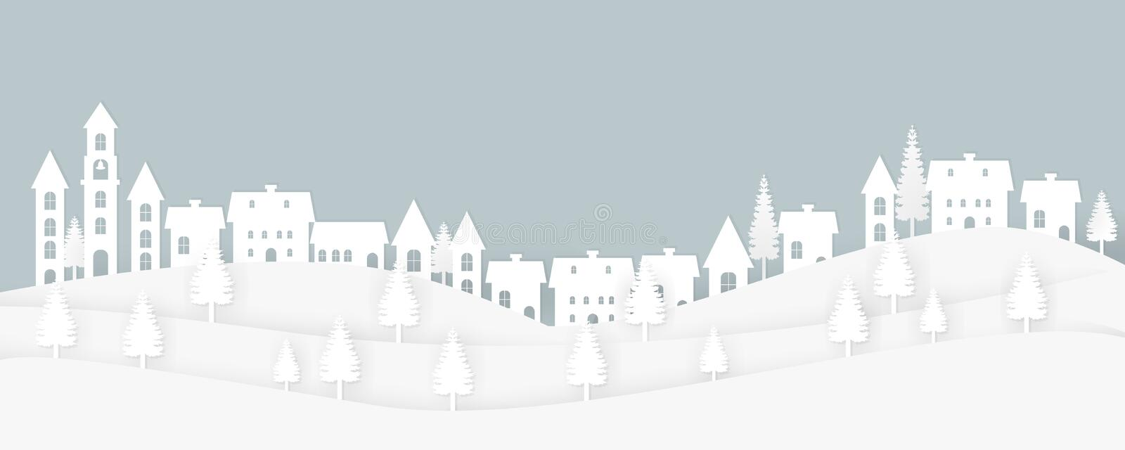 Landscape paper art style illustration with houses, and trees. stock photography