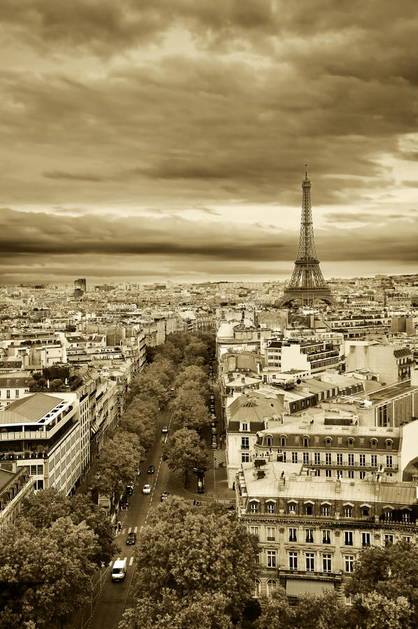 landscape paris tappning arkivfoton
