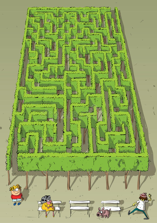 Landscape Park Trees Maze Game. For children. Hand drawn illustration in eps10 mode. Task: find the way out! Answer is in hidden layer in eps file stock illustration